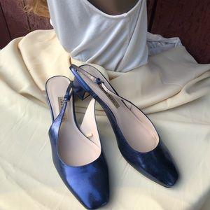 ZARA Basic Navy blue Metalic Sling back sandals